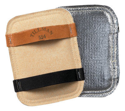 "Tillman 5 1/2"" X 7 1/2"" Silver And Yellow Aluminized Carbon Kevlar™ Ceramic Wool Goldengard™ Heat Resistant Backhand Pad"