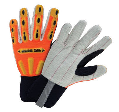 West Chester Large Hi-Viz Orange Heavy Duty R2 Corded Palm Rigger Cotton GLoves WIth Long Neoprene Cuff, Reinforced Thumb And Spandex™ Back