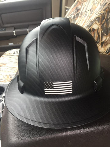 CLEARANCE Custom Printed Black Ops Special Edition Pyramex Black Graphite Pattern Full Brim Hard Hat w/ US Flag