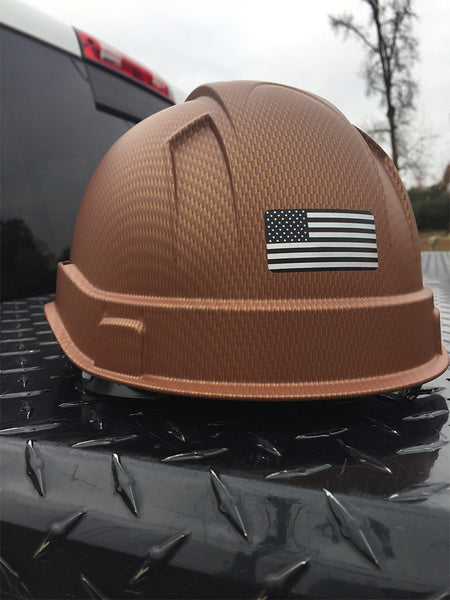 Custom Printed Black Ops Special Edition Pyramex Hard Hat w/ US Flag (Back)