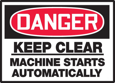 "3.5"" x 5"" Dura Vinyl Label - Danger Keep Clear Machine Starts Automatically"