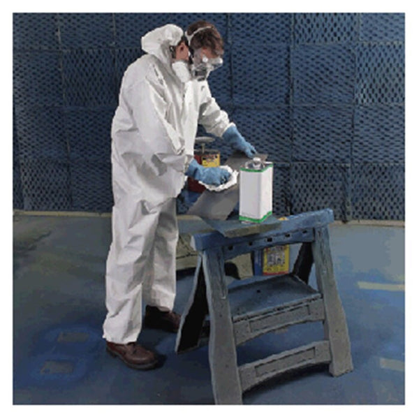 Radnor™ 2X White Pro-2 Microporous Film Laminated To Spunbond Polypropylene Disposable Coveralls With Front Zipper Closure