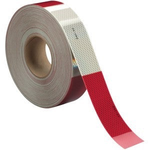 "Red & White 2"" Reflective Tape 50 yd roll"