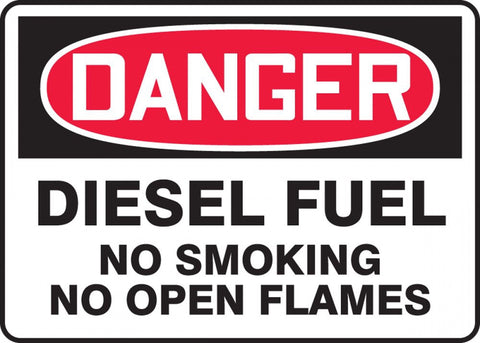 "7"" x 10"" Adhesive Vinyl - Danger Diesel Fuel, No Smoking, On Open Flames"