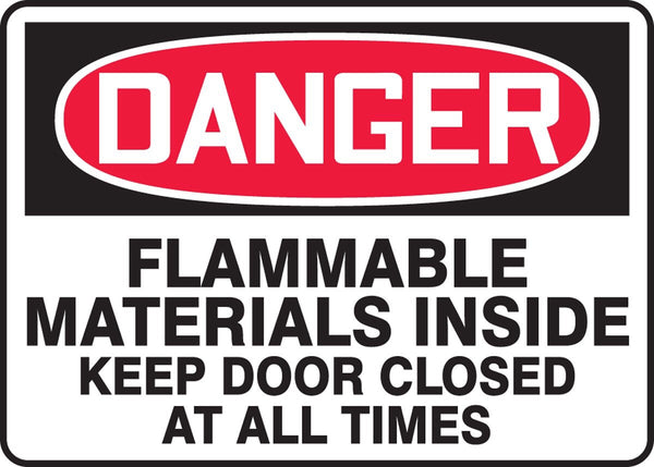 "10"" x 14"" Aluminum Sign - Danger Flammable Material Inside"