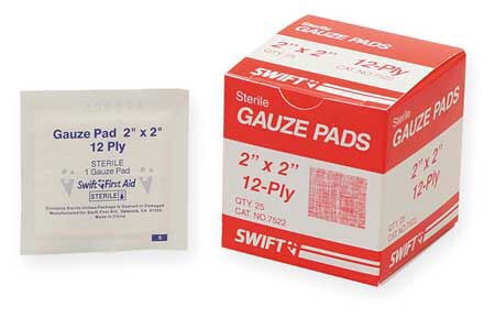 "Swift First Aid 2"" X 2"" Sterile Gauze Pad (25 Per Box)"