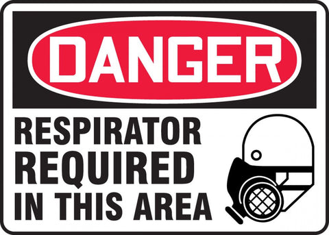 10x14 Aluminum   Danger Respirator Required in this Area