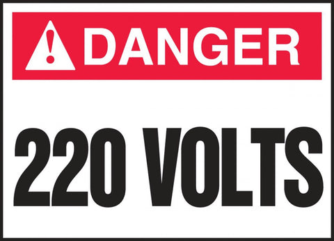 "3.5"" x 5"" in Label - Danger 220 Volts"