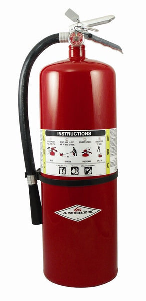 Amerex™ 20 Pound Stored Pressure ABC Dry Chemical 10A:120B:C Multi-Purpose Fire Extinguisher For Class A, B And C Fires With Anodized Aluminum Valve, Wall Bracket, Hose And Nozzle