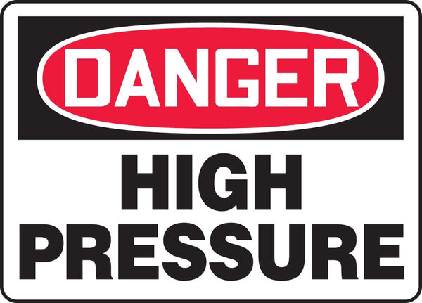 "10"" x 14"" Adhesive Vinyl Sign - Danger High Pressure"