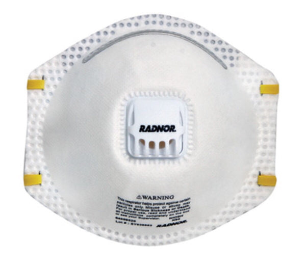 Radnor™ N95 Particulate Disposable Respirator With Exhalation Valve And Adjustable Nose Clip - NIOSH 42CFR84 (10 Each Per Box)