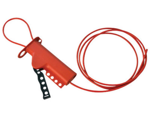 "Brady™ Red 6"" X 3 1/4"" X 1 1/4"" Impact Modified Glass Filled Nylon All Purpose Cable Lockout With 8' Sheathed Cable"
