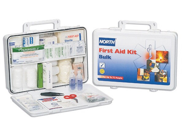 Kit First Aid 75 Person Economic Bulk Supplies Waterproof Plastic Readily Accessed When Needed Nort