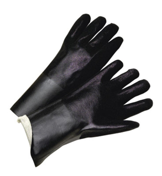 "Radnor™ Large 14"" Black Double Dipped PVC Glove With Sandpaper Grip And Jersey Lining"