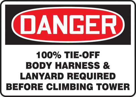 "10"" x 14"" Adhesive Vinyl Sign - Danger Lanyard Required"