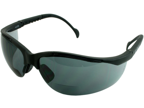 Safety Glasses V2 Readers Black Frame Gray Lens 2.5