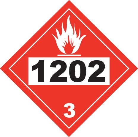 "10 3/4"" x 10 3/4"" Adhesive Vinyl Sign - Hazard Class 3 1202 (Gasoline) with Graphic"