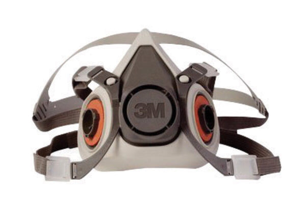 3M» Small Gray Thermoplastic Elastomer Half Mask 6000 Series Reusable Standard Respirator With 4 Point Harness And Bayonet Connection