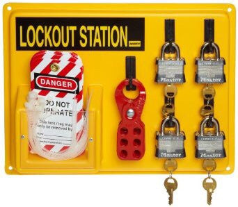 "North™ by Honeywell 14"" Polystyrene Complete Lockout Station Includes (1) Panel, (4) 3D Wide Keyed Padlocks, (1) ElA290 Lockout Tags And (3) Hasps"