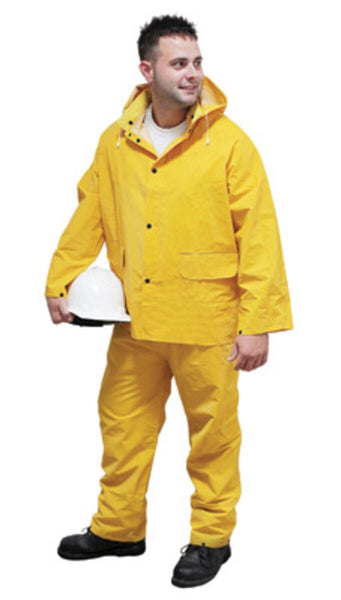 Radnor™ Large Yellow .35 mm Polyester And PVC 3 Piece Rain Suit (Includes Jacket With Front Snap Closure, Detached Hood And Snap Fly Bib Pants)