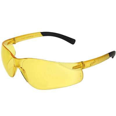 Safety Glasses ZTEK Amber Lens Rubber Temple Tips Wrap Around