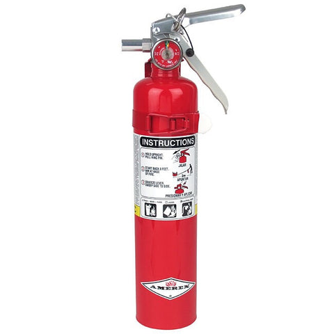 Amerex™ 2.5 Pound Stored Pressure ABC Dry Chemical 1A:10B:C Multi-Purpose Fire Extinguisher For Class A, B And C Fires With Anodized Aluminum Valve, Vehicle Bracket And Nozzle