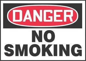 "Accuform Signs™ 10"" X 14"" Black, Red And White 0.040"" Aluminum Smoking Control Sign ""DANGER NO SMOKING"" With Round Corner"