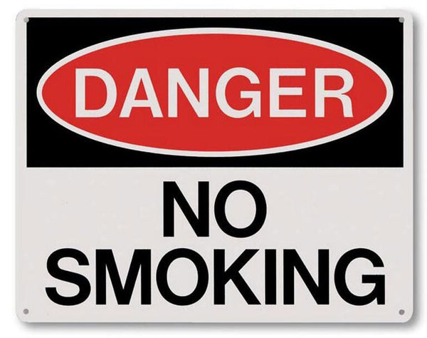 "8"" x 10"" Plastic - Danger No Smoking Sign"
