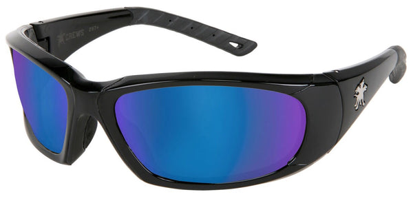 Crews™ ForceFlex™ Ultra-Flexible Regular Safety Glasses With Black Thermoplastic Urethane Frame, Blue Diamond Mirror Polycarbonate Anti-Scratch Lens And Black Temple Sleeve