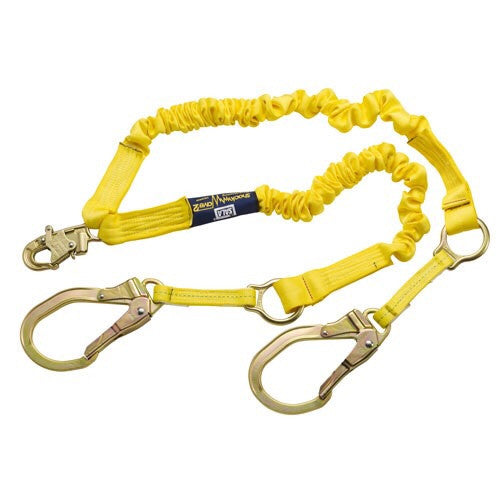 "DBI/SALA™ 6' Shockwave2» 1 15/16"" Polyester Tubular Web Twin-Leg Tie-Off Shock-Absorbing Lanyard With Snap Hook At Each Ends"