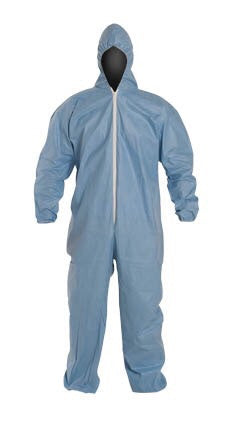 FR Tyvex Hooded Coverall Tempro Blue Serged Seam Front Zipper Elastic Wrist with Attached Sock Large 25/CA