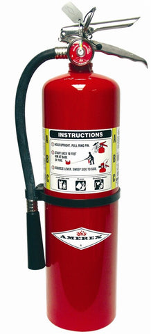 Amerex™ 10 Pound Stored Pressure ABC Dry Chemical 4A:80B:C Steel Multi-Purpose Fire Extinguisher For Class A, B And C Fires With Anodized Aluminum Valve, Wall Bracket, Hose And Nozzle