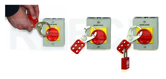 Reece Lockout Hasp steel, red plastic coated, scissor action 38mm dia jaws
