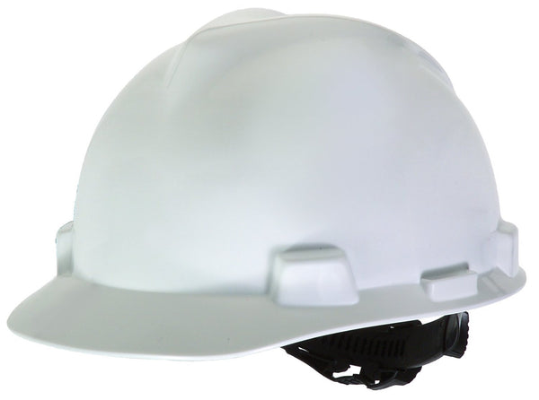 MSA White V-Gard™ Polyethylene Standard Slotted Cap Style Bump Cap With Fas Trac™ 4 Point Ratchet Suspension