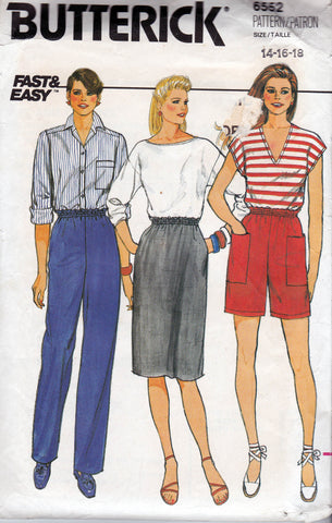 Butterick 6552 Womens Easy Skirt Pants Shorts 80s Vintage Sewing Pattern Size 14 16 18 UNCUT Factory Folded