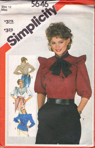 Simplicity 5646 Womens Ruffled Blouse 80s Vintage Sewing Pattern Size 12 Bust 34 inches UNCUT Factory Folded