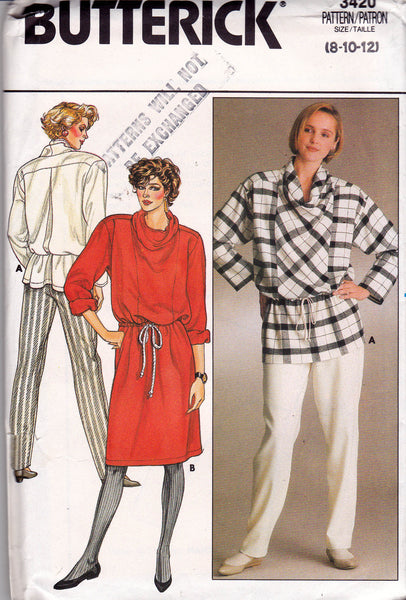 Butterick 3420 Womens Cowl Neck Dress Top & Pants 80s Vintage Sewing ...