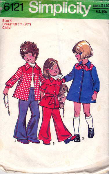 Simplicity 6121 Toddler Girls Dress Top & Pants 70s Vintage Sewing Pattern Size 4 Breast 23 inches