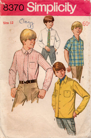 simplicity 8370 60s boys shirt and tie