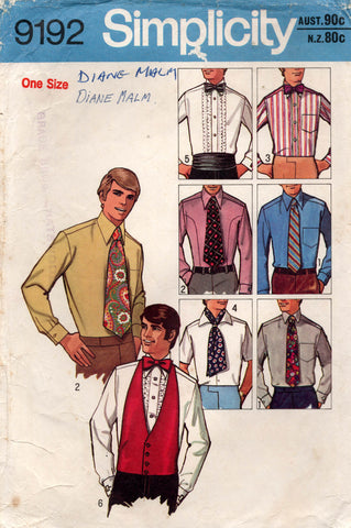 simplicity 9192 70s mens ties etc