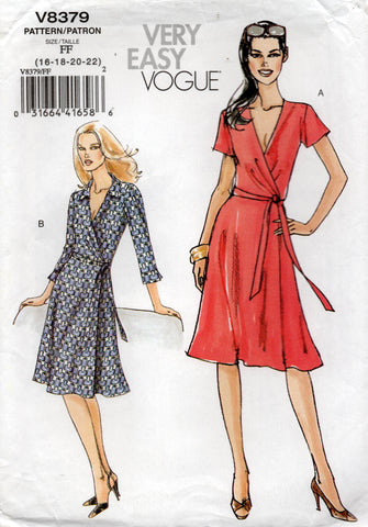 vogue v8379 stretch wrap dress