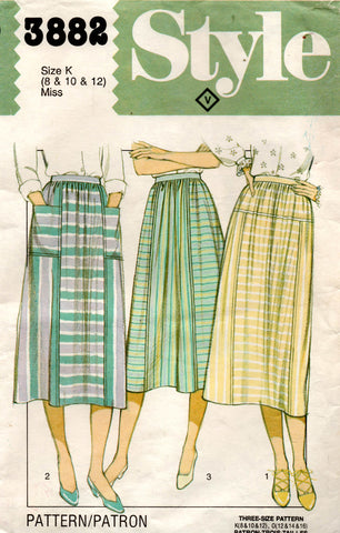 Style 3882 Womens EASY Gathered Skirts with Yoke or Pockets 1980s Vintage Sewing Pattern Sizes 8 - 12 UNCUT Factory Folded