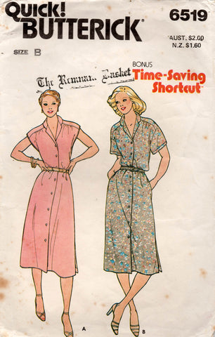 Butterick 6519 Womens Gathered Shoulder Dress 1970s Vintage Sewing Pattern Size 12 - 16