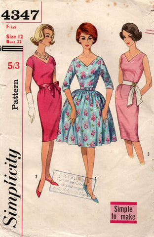 Simplicity 4347 Womens Full Skirt or Sheath Dress 1960s Vintage Sewing Pattern Size 12 Bust 32 inches