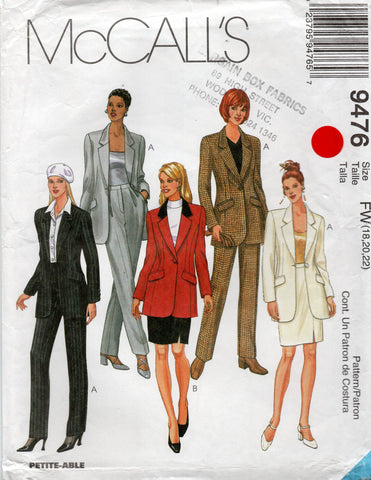 McCall's 9476 Womens Lined Jacket Skirt & Pants Suit 1990s Sewing Pattern Size 18 - 22 UNCUT Factory Folded