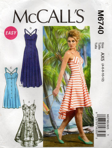 McCall's M6740 Womens Sundress with Self Lined Bra Bodice Out Of Print Sewing Pattern Sizes 4 - 12 UNCUT Factory Folded