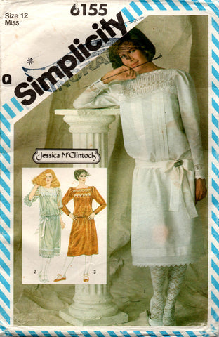 Simplicity 6155 JESSICA McCLINTOCK Womens Dropped Waist Dress Sash & Slip 1980s Vintage Sewing Pattern Size 12 Bust 34 inches