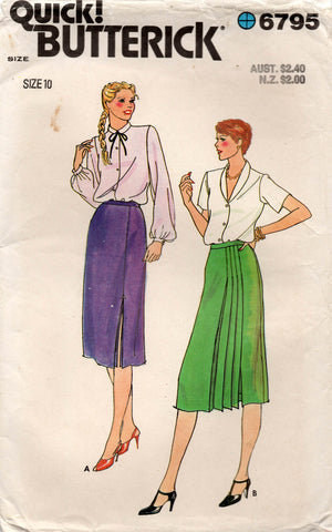 Butterick 6795 Womens Asymmetric Pleated Skirts 1980s Vintage Sewing Pattern Size 10 Waist 25 Inches