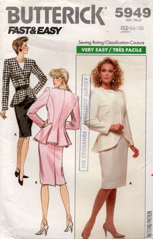 Butterick 5949 Womens Peplum Jacket Blouse & Pencil Skirt 1980s Vintage Sewing Pattern Size 12, 14