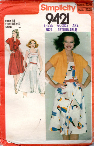 Simplicity 9421 Womens Full Bias Skirt Sundress & Jacket 1980s Vintage Sewing Pattern Size 12